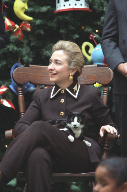 Photograph of First Lady Hillary Rodham Clinton and Socks the Cat