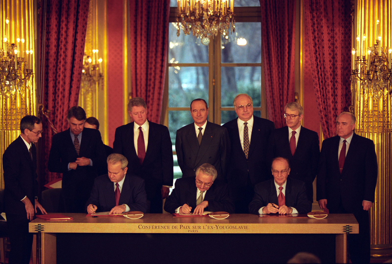 Photograph of the Balkan Peace Agreement Signing