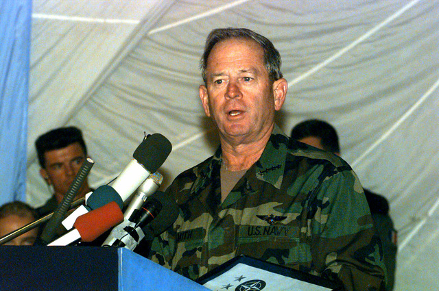 Admiral Leighton Smith, Commander Implementation Forces (IFOR), speaks during the Transfer of Authority Ceremony in Sarajevo Bosnia-Herzegovina