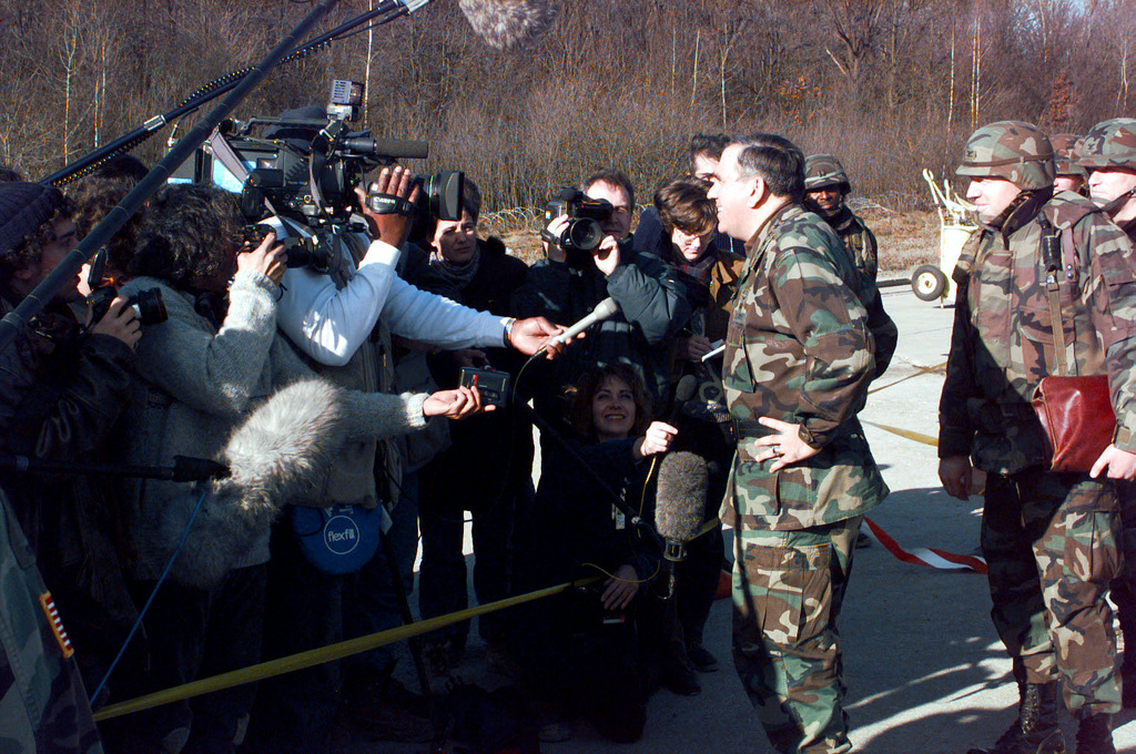 General George A. Joulwan, U.S. Army, NATO's Commander in Europe, holds a press conference in Tuzla AB, Bosnia-Herzegovina. The General was at Tuzla AB to see how Operation Joint Endeavor was progressing