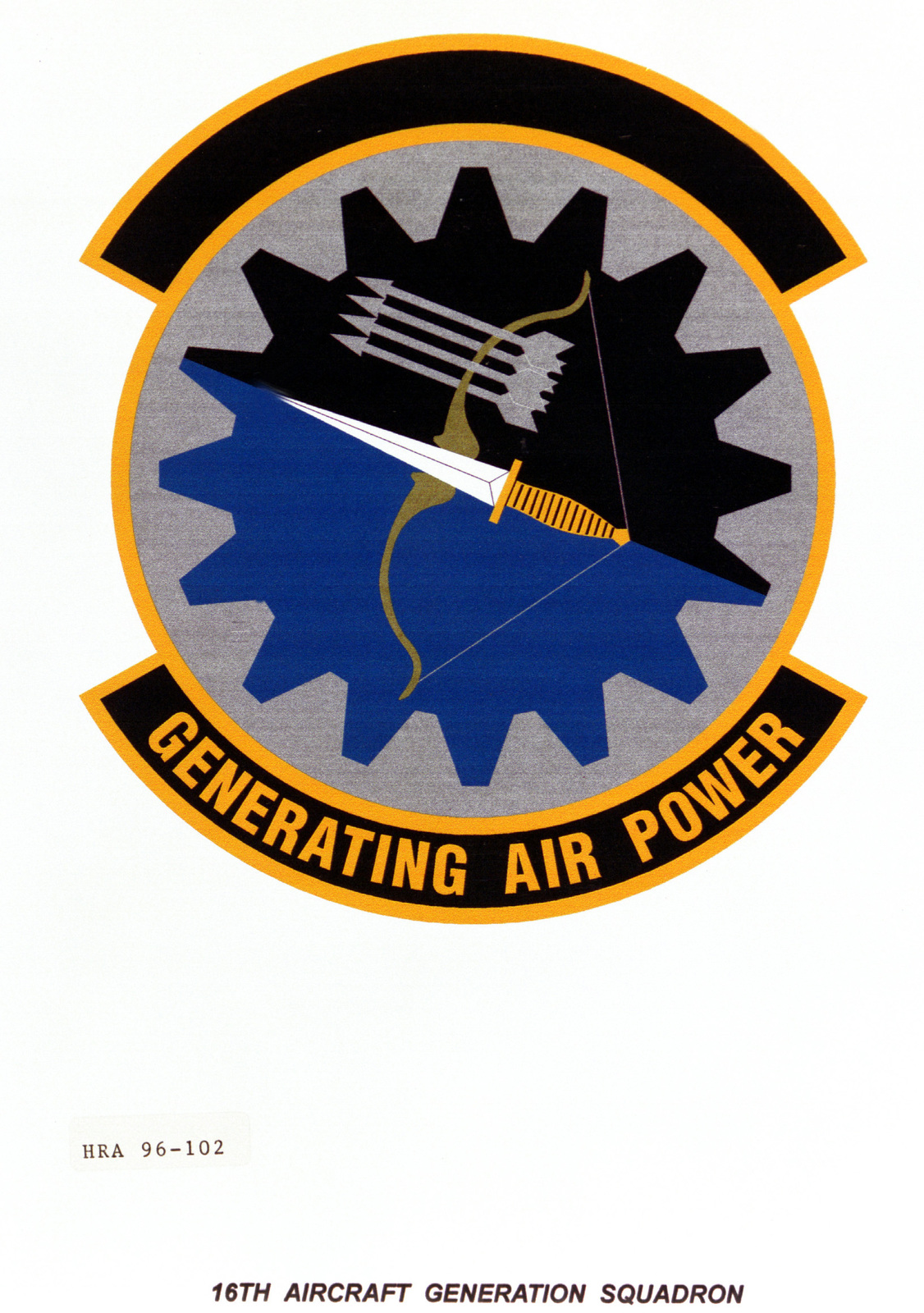 Air Force Organizational Emblem. 16th Aircraft Generation Squadron Exact Date Shot Unknown