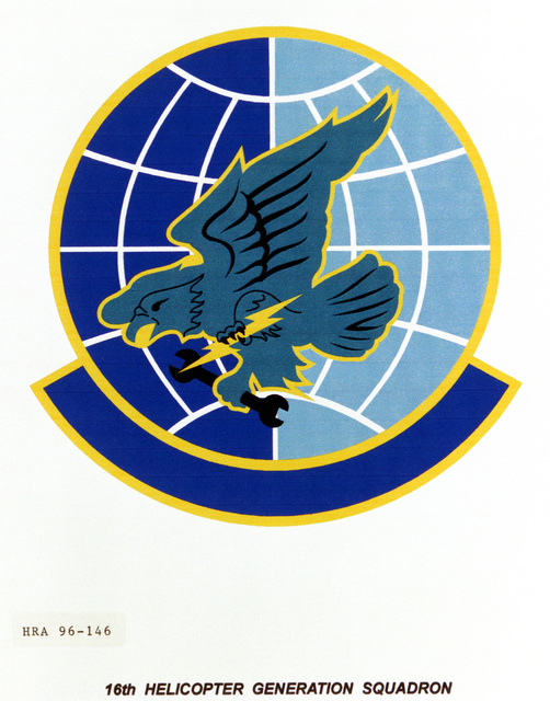 Air Force Organizational Emblem. 16th Helicopter Generation Squadron Exact Date Shot Unknown