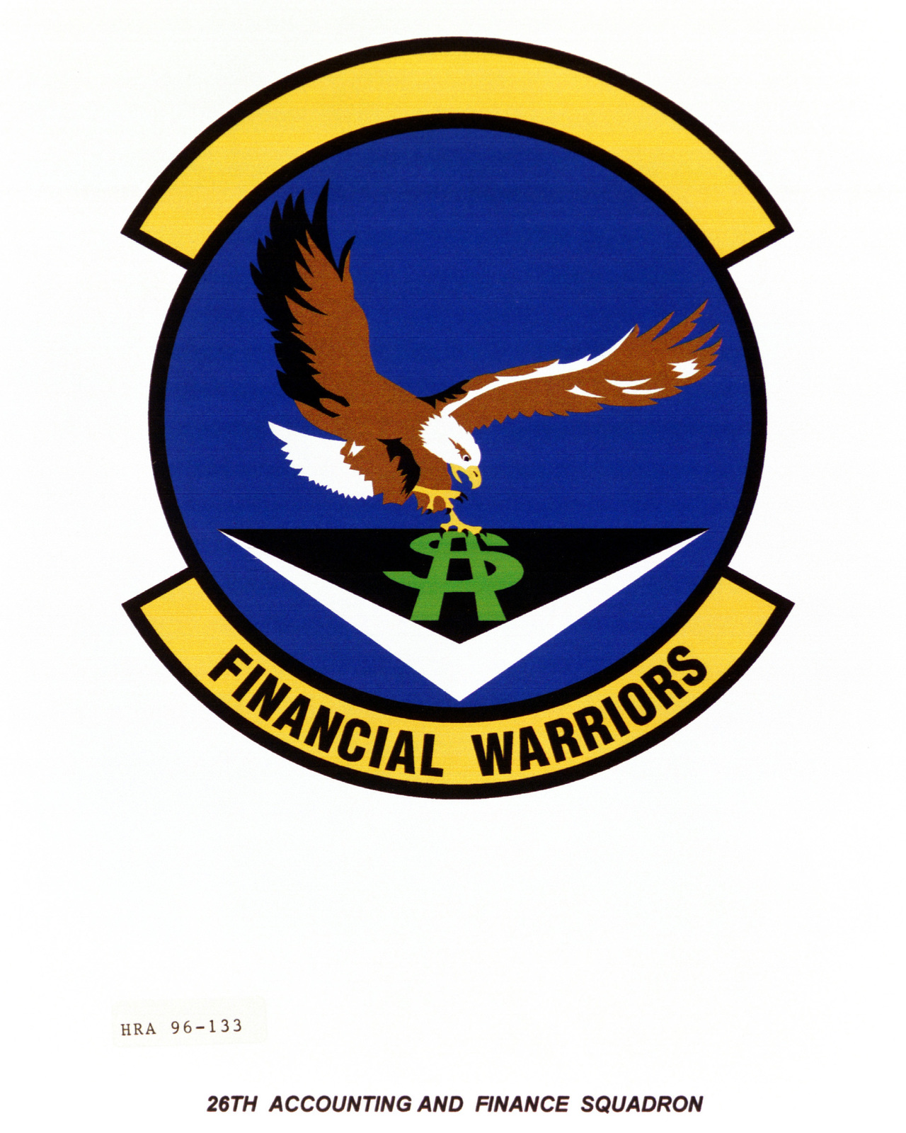 Air Force Organizational Emblem. 26th Accounting and Finance Squadron Exact Date Shot Unknown