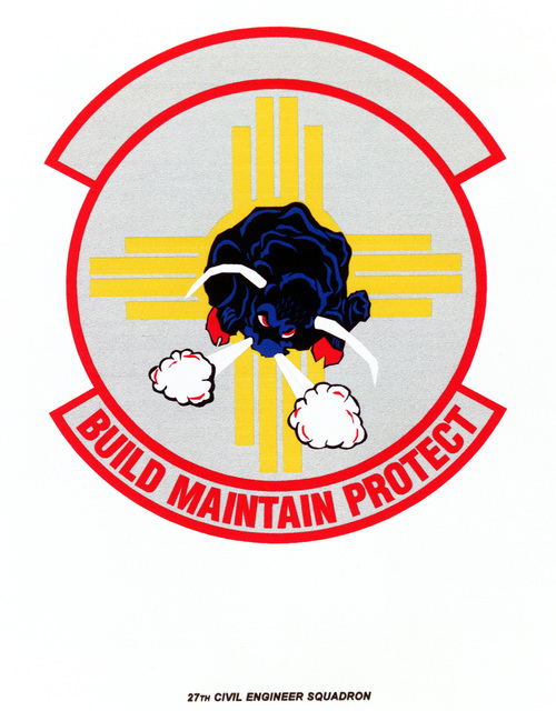 Air Force Organizational Emblem. 27th Civil Engineer Squadron Exact Date Shot Unknown