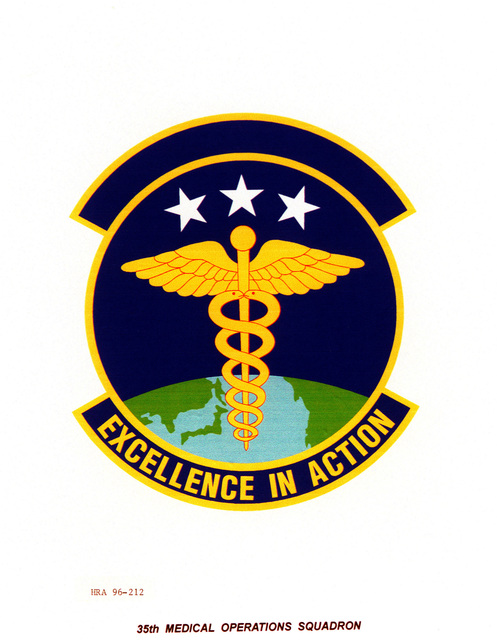 AIR FORCE ORGANIZATIONAL EMBLEM 35th Medical Operations Squadron Exact Date Shot Unknown