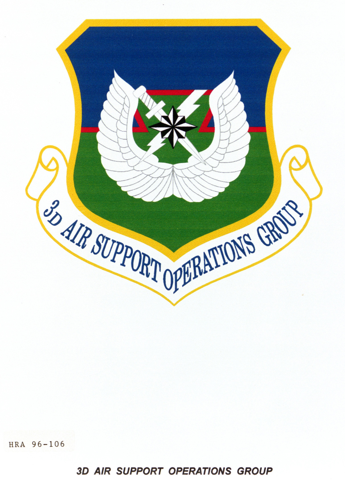 Air Force Organizational Emblem. 3rd Air Support Operations Group Exact Date Shot Unknown