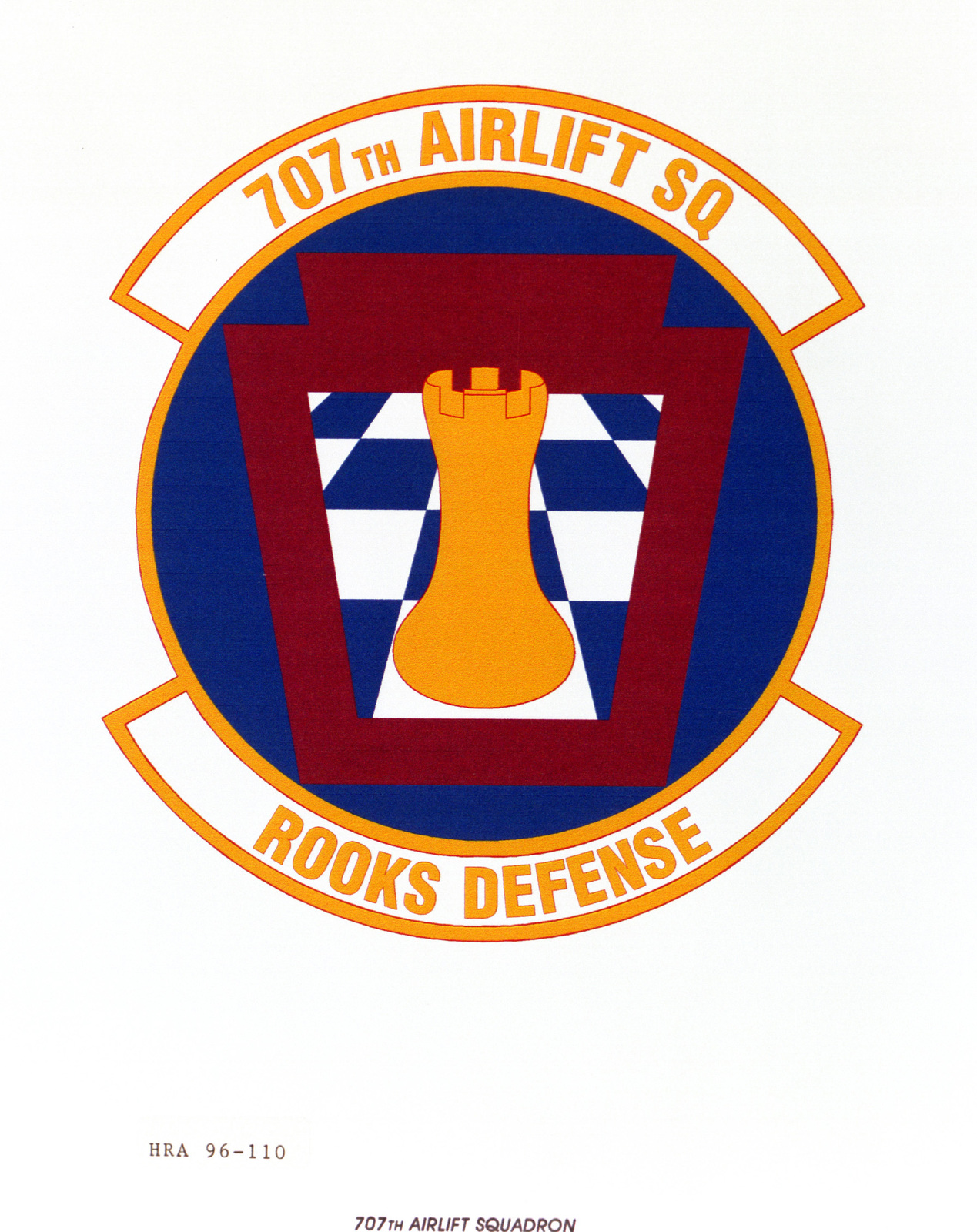 Air Force Organizational Emblem. 707th Airlift Squadron Exact Date Shot Unknown