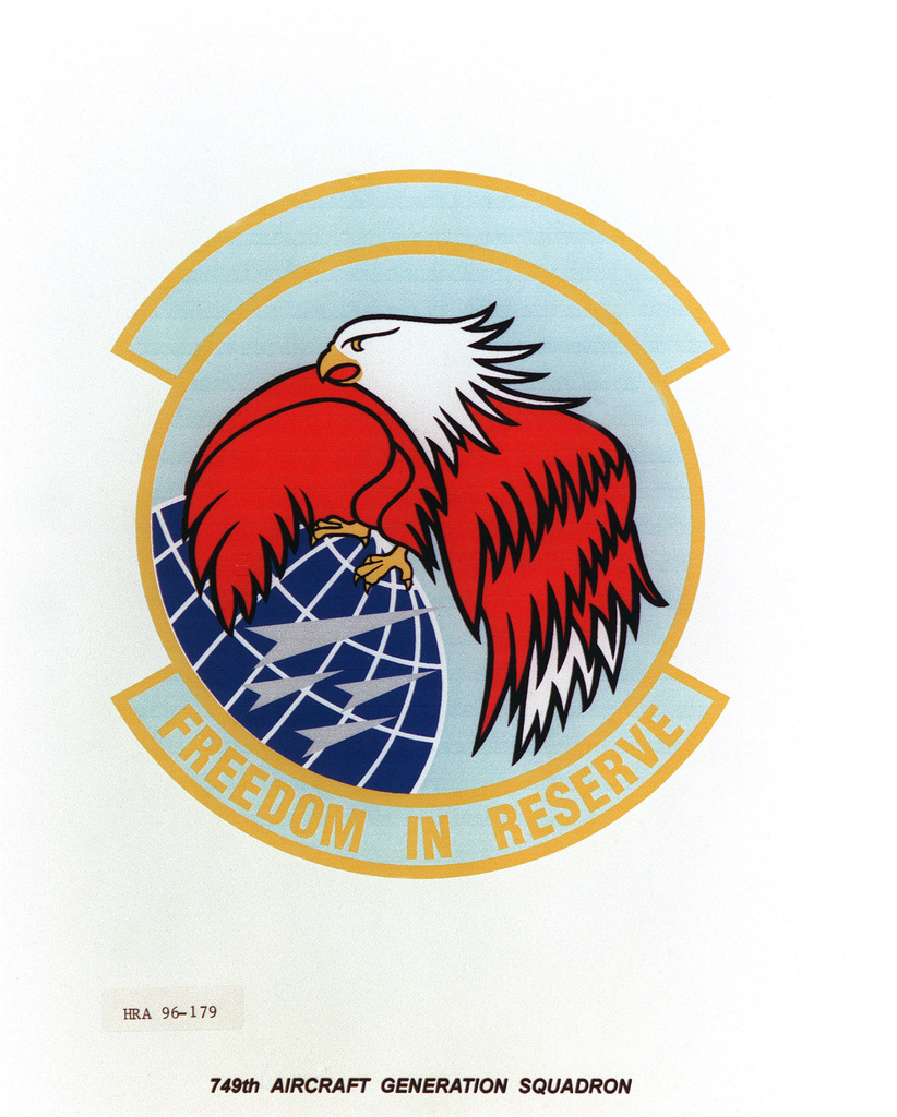 AIR FORCE ORGANIZATIONAL EMBLEM 749th Aircraft Generation Squadron Exact Date Shot Unknown