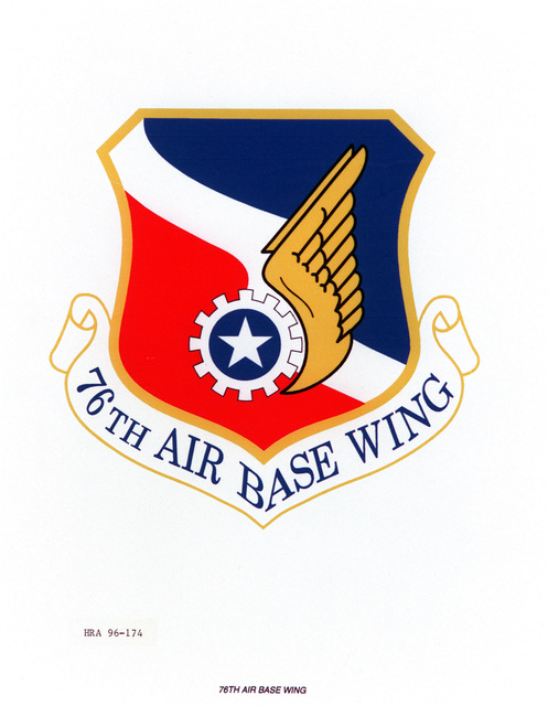 AIR FORCE ORGANIZATIONAL EMBLEM 76th Air Base Wing Exact Date Shot Unknown