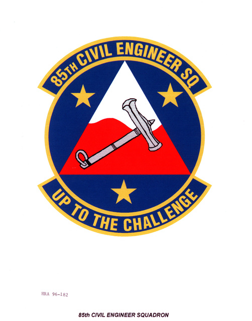 AIR FORCE ORGANIZATIONAL EMBLEM 85th Civil Engineer Squadron Exact Date Shot Unknown