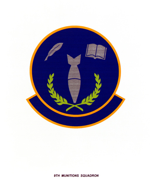 AIR FORCE ORGANIZATIONAL EMBLEM 9th Munitions Squadron Exact Date Shot Unknown