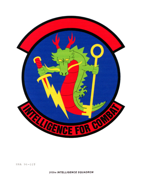 Approved insignia for the 315th Intelligence Squadron Exact Date Shot Unknown