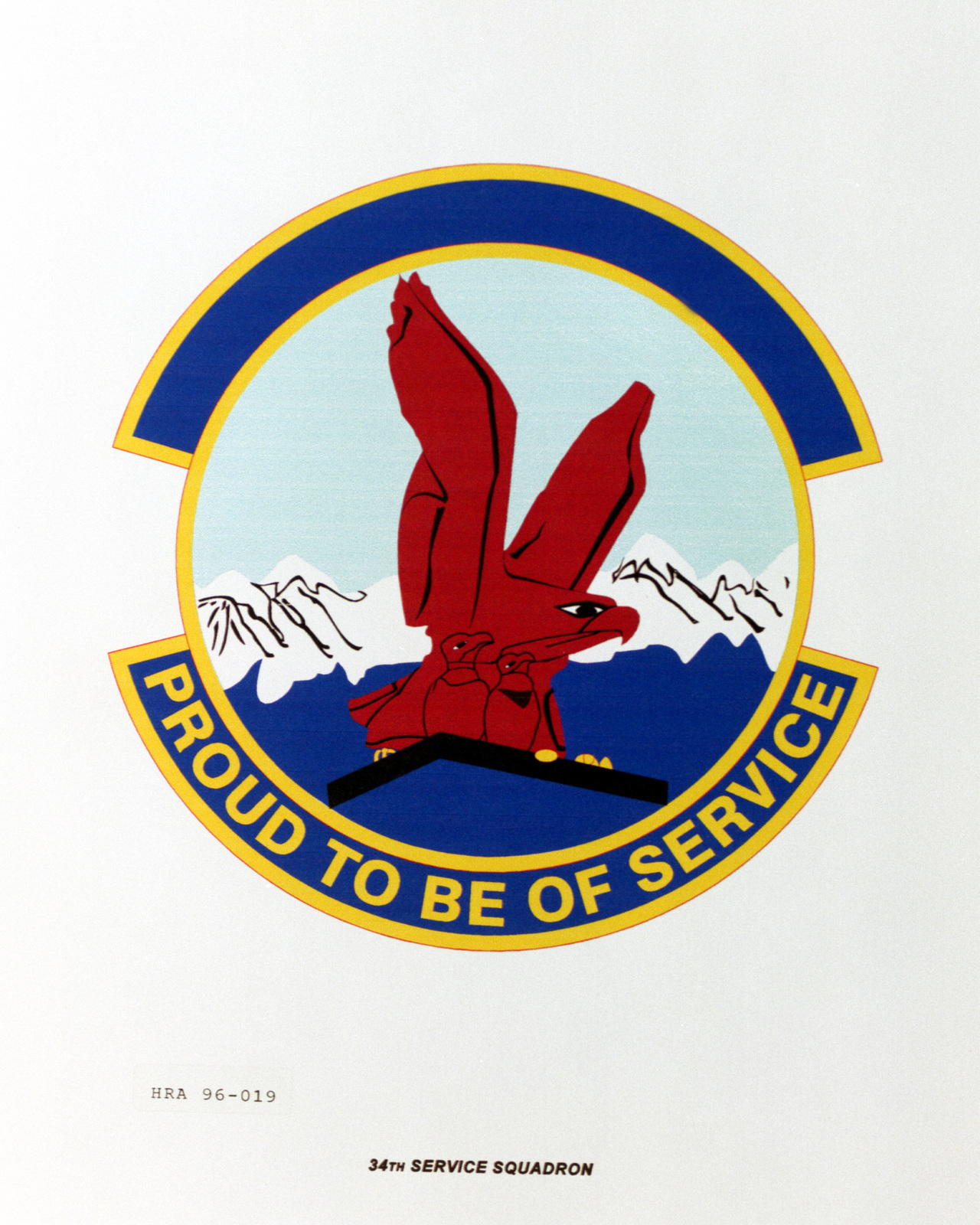 Approved insignia for the 34th Services Squadron Exact Date Shot Unknown