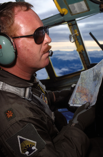 Portrait of C-130 Aircraft Commander MAJ. Steve O'Brien. MAJ. O'Brien flies airdrop missions from Rhein-Main AB, Germany to Sarajevo. He is assigned to the 133rd Airlift Wing, Minnesota Air National Guard, St. Paul, Minn
