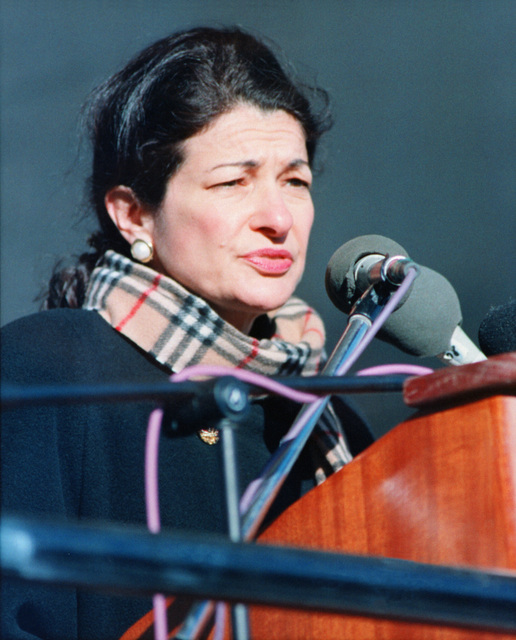 The Honorable Olympia J. Snowe, U. S. Senator, Maine, addresses the crowd at the christening and launch of the guided missile destroyer USS HOPPER (DDG-70) at the Bath Iron Works Shipyard. Senator Snowe was the principal speaker as a launch milestone for the vessel