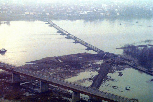 Aerial view of the pontoon bridge constructed to link Croatia to Bosnia-Herzegovina over the Sava River