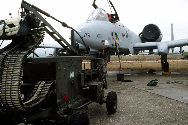 The Automatic Loader Assembly (Big Foot) provides expeditious assistance when loading the 30mm Gatling cannon. Big Foot is being utilized by the 175th Fighter Wing at Aviano AB, Italy in support of Operation Joint Endeavor