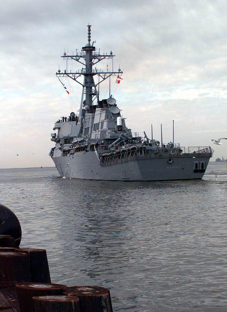 The U.S. Naval Arleigh Burke Class Destroyer, USS Barry, departs pier 24 at the Norfolk Naval Station to meet up with the USS George Washington, for a six month deployment to the Adriatic Sea in support of Operation Joint Endeavor