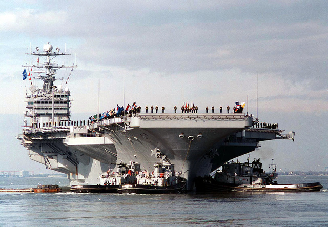 The USS George Washington (CVN-73), commanded by Captain Malcolm P. Branch, gets underway to position itself in the Adriatic Sea in support of Operation Joint Endeavor