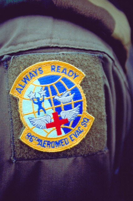 A close-up view of the unit patch worn by members of the 86th Aero-Medical Evacuation Squadron, Ramstein Air Base, Germany, who provide 24 hour emergency medical support for Tuzla Air Base, Bosnia while deployed in support of Operation Joint Endeavor