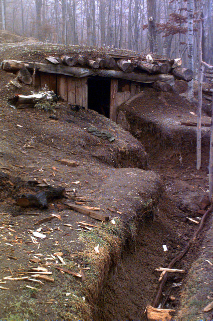 This Muslim bunker near Opasici, Bosnia, in the Zone of Separation, is scheduled to be demolished during Operation Joint Endeavor