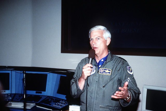 LT. General Larry Boese, Commander of 11th Air Force and Alaskan Command, holds an Operation Overview briefing outlining the different facets of Northern Edge/Cope Thunder '96. Exact Date Shot Unknown