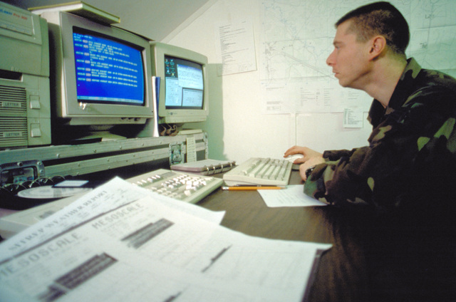Weather forecaster, STAFF SGT. Tom Cardinal of Det. 2, 617th Weather Squadron, Hanau, Germany, prepares an electronic weather bulletin for The Tuzla, Bosnia area. Using a secure data line STAFF SGT. Cardinal will notify all flying units in the Tuzla area to brief pilots before flying the day's mission. The bulletins will also go to Offutt AFB, Nebraska for use by all Air Force agencies world wide. STAFF SGT. Cardinal is serving temporary duty at Tuzla Air Base, Bosnia, in support of Operation Joint Endeavor. The base and personnel assigned are part of the Implementation Force (IFOR) mission. The IFOR mission is to ensure that the former warring nations of Serbia, Bosnia-Herzegovina and ...