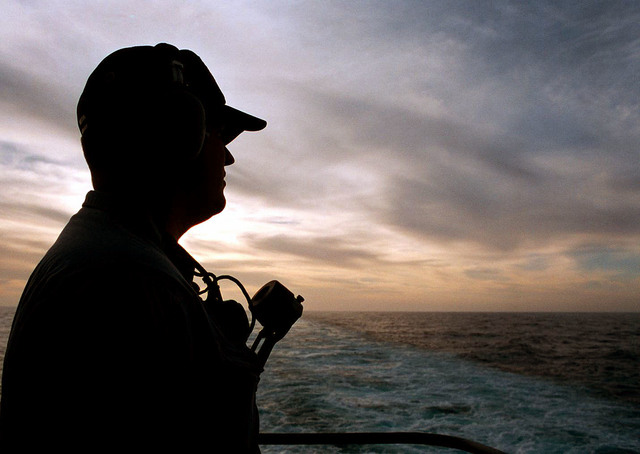 On Board the nuclear powered aircraft carrier, USS George Washington (CVN-73), a sailor mans a lookout post. The USS Washington is in the Adriatic Sea in support of Operation Joint Endeavor