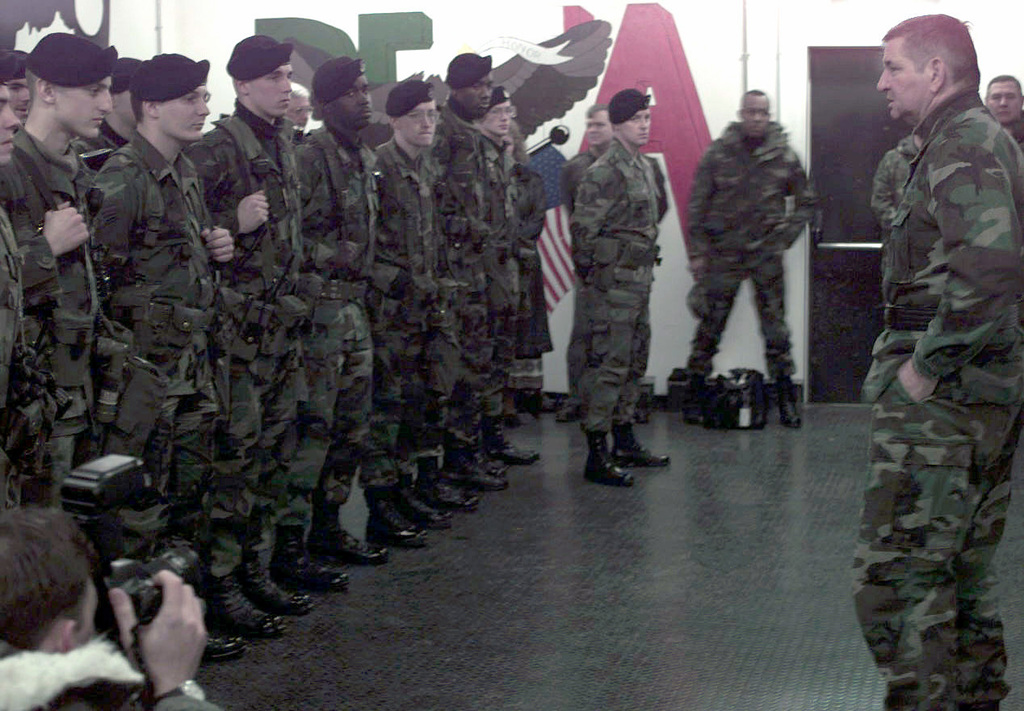 U.S. Air Force CHIEF of STAFF, General Ronald Fogelman, speaks to troops during a guard mount at Aviano AB, Italy