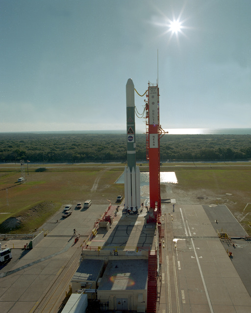 A McDonnell Douglas Delta II 7925 vehicle carrying the Near Earth Asteroid Rendezvous (NEAR) spacecraft for NASA sits poised at Launch Pad 17B at Cape Canaveral Air Station