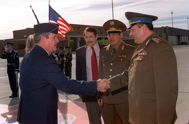 GEN. LT. Mukhtar Altynbayev, the Commander in CHIEF of the Air Force for the Republic of Kazakstan, receives a welcome from Brigadier General Marvin Esmond, Commander of the 56th Fighter Wing