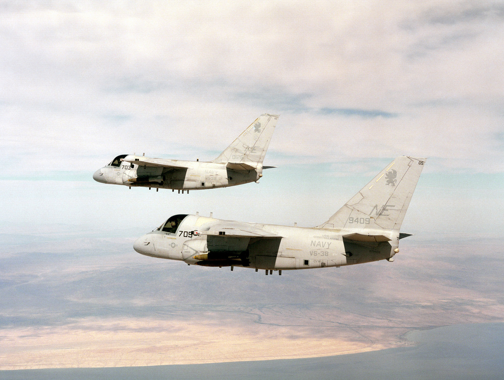 A two ship formation of S-3B Vikings from the Sea Control