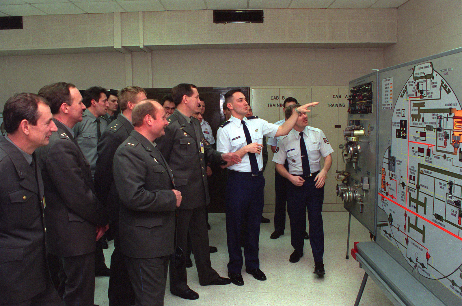 1ST LT. George Moraczewski, USAF Interpreter, explains the function of the Hydraulic Brake System at the C-130 Training Detachment to the Ukrainian Air Force Officers