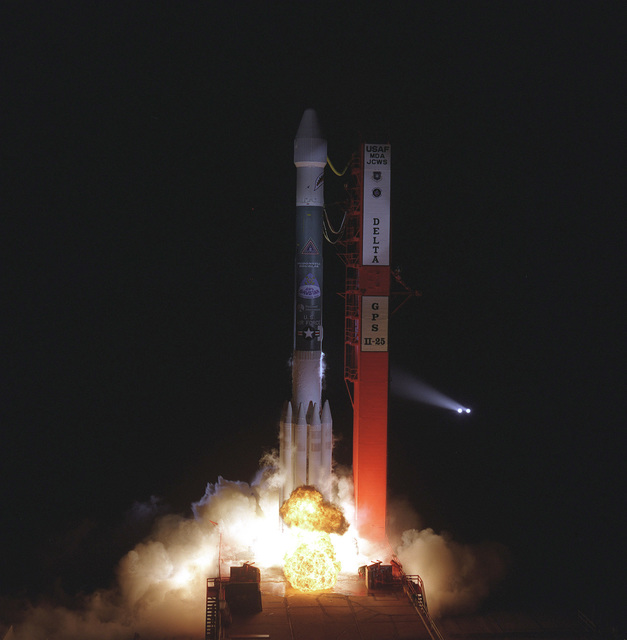 A McDonnell Douglas Delta II space lift vehicle successfully lifted off at 7:21 p.m., EST from launch pad 17B, Cape Canaveral Air Station. This Delta II was carrying the Global Positioning System Satellite 11-25