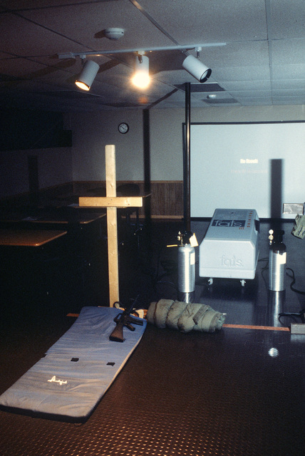 Display of Fire Arms Training System (FATS) in the 55th Wing's 55th Security Police Squadron's combat arms training classroom at Offutt AFB, Neb