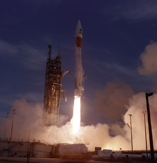 Air Force and Lockheed Martin Astronautics launch team crews successfully launched this Atlas IIA space launch vehicle designated AC-122 on April 3, 1996 at 06:01 p.m., EST from Complex 36A. This Atlas IIA carried the INMARSAT-3 1F communications satellite