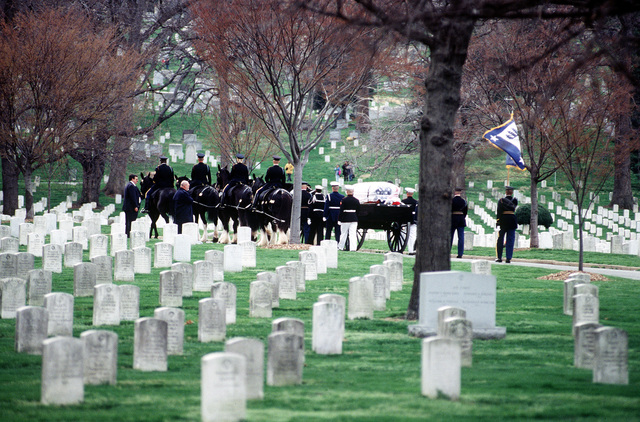 US Honor Guardsman escort the remains ofSecretary of Commerce Ron Brown, on a horse drawn caisson, through Arlington National Cemetery to his final resting . Commerce Secretary Ron Brown was tragically killed when a USAF CT-43 plane crashed near Dubrovnik, Croatia on April 3, 1996