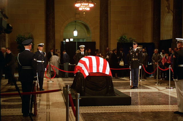 US Honor Guardsman, representing all branches of the US Military, are standing guard in the Dept. of Commerce over the remains of Commerce Secretary Ron Brown who was tragically killed on April 3, 1996 in a CT-43 plane crash near Dubrovnik, Croatia