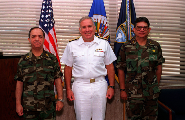 Office call with Acting Commander in CHIEF (ACinC) Rear Adm. James B. Perkins, US Southern Command (USSOUTHCOM) (center), MAJ. GEN. Hernan Aguilera Bianchi, Commander Bolivian Army (left) and Brig. GEN. Luis Duarte. MAJ. GEN. Bianchi is visiting Panama as part of the USARSO Distinguished Visitors Program