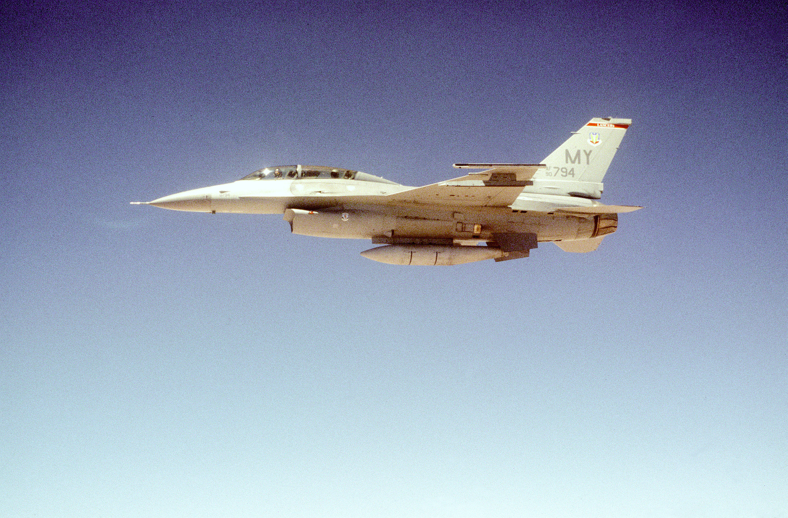 An F-16D Fighting Falcon from the 68th Fighter Squadron, Moody Air Force Base, Georgia, after being refueled, flies a mission overJordan in support of the Air Power Expeditionary Force. An ancillary mission of the Force is to assist US Air Force and other multinational forces operating in Saudi Arabia and other nearby countries patrol the no-fly zone over southern Iraq