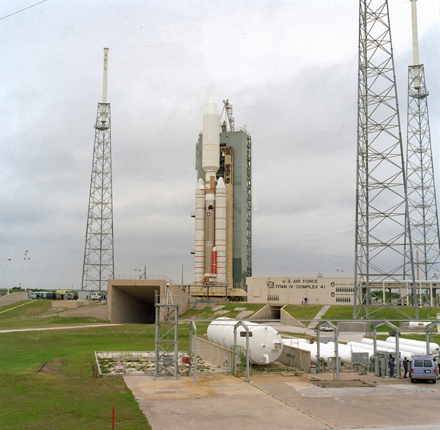 An Air Force Titan IV/Centaur sits poised on complex 41 at Cape Canaveral Air Station in preparation for the first Titan Launch for 1996