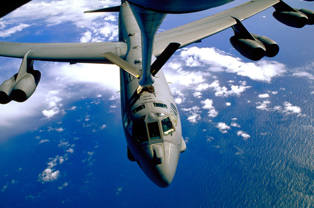 A B-52H of the 20th Bomb Squadron (Buccaneers), 2nd Bomb Wing, Barksdale Air Force Base, Louisiana is refueled on 26 Apr 96 during a 22 hour non-stop round trip mission that started on 25 Apr 96. The KC-135R tanker is from the 100th Aerial Refueling Wing, Royal Air Force Mildenhall. The B-52H took on 120,000 pounds of fuel from two KC-135Rs over the North Sea after dropping eight MK52 mines as part of Exercise Blue Harbor