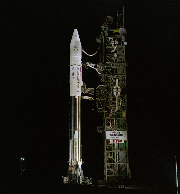 A Lockheed Martin Atlas I space launch vehicle sits poised on launch complex 36B at Cape Canaveral Air Station, prepared to carry an Italian space agency and Dutch space agency commercial scientific payload into orbit