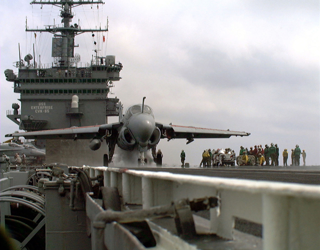 An A-6 Intruder aircraft assigned to the ''Sunday Punchers'' of Attack Squadron Seven Five (VS 75) makes ready for launch from the number one catapult, during carrier qualifications aboard the US Navy's nuclear powered aircraft carrier USS ENTERPRISE (CVN 65). Enterpriseis participating in Combined Joint Task Force Exercise '96, as part of a multinational force of over 50,000 Soldiers, Sailors, AIRMAN and Marines from Canada, Britain and the United States