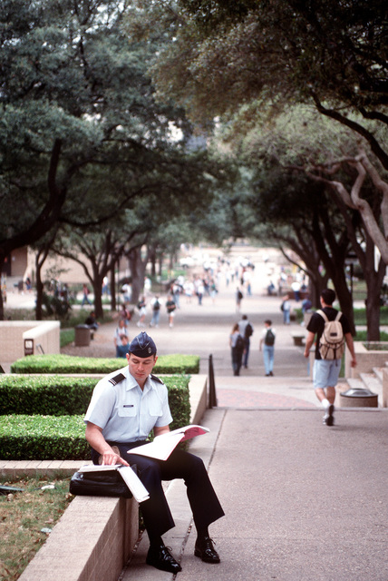 Cadet Martin Benavidez studies between classes while earning his bars to become a second lieutenant through the Air Force ROTC Professional Officer Course-Early Release Program at Southwest Texas State University. Prior to his selection to the program, he served eight years as an Air Force enlisted soldier.(Published in AIRMAN Magazine May 1996 ) Exact Date Shot Unknown