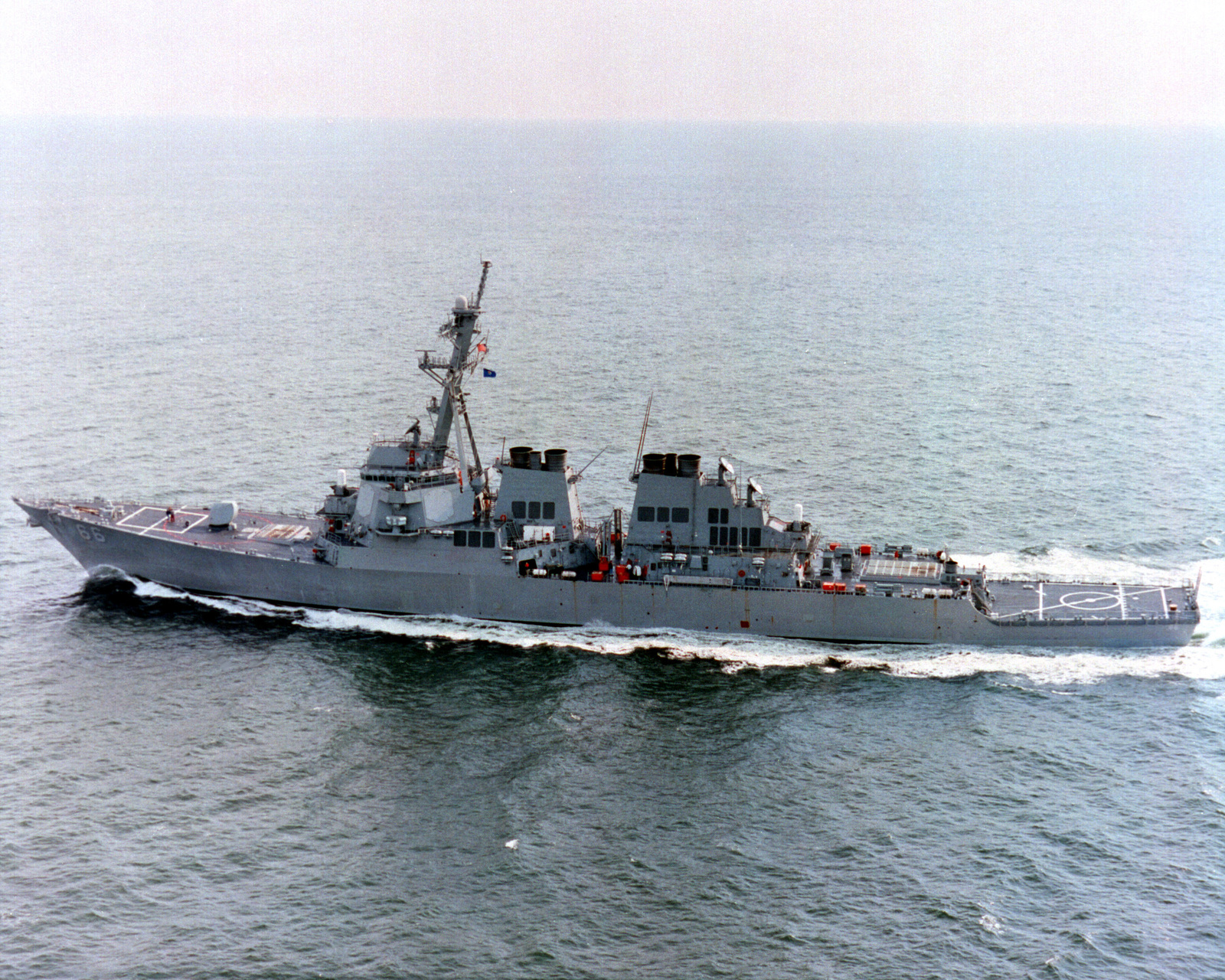 Aerial port beam view of the guided missile destroyer USS GONZALES (DDG 66) underway during builder's sea trials