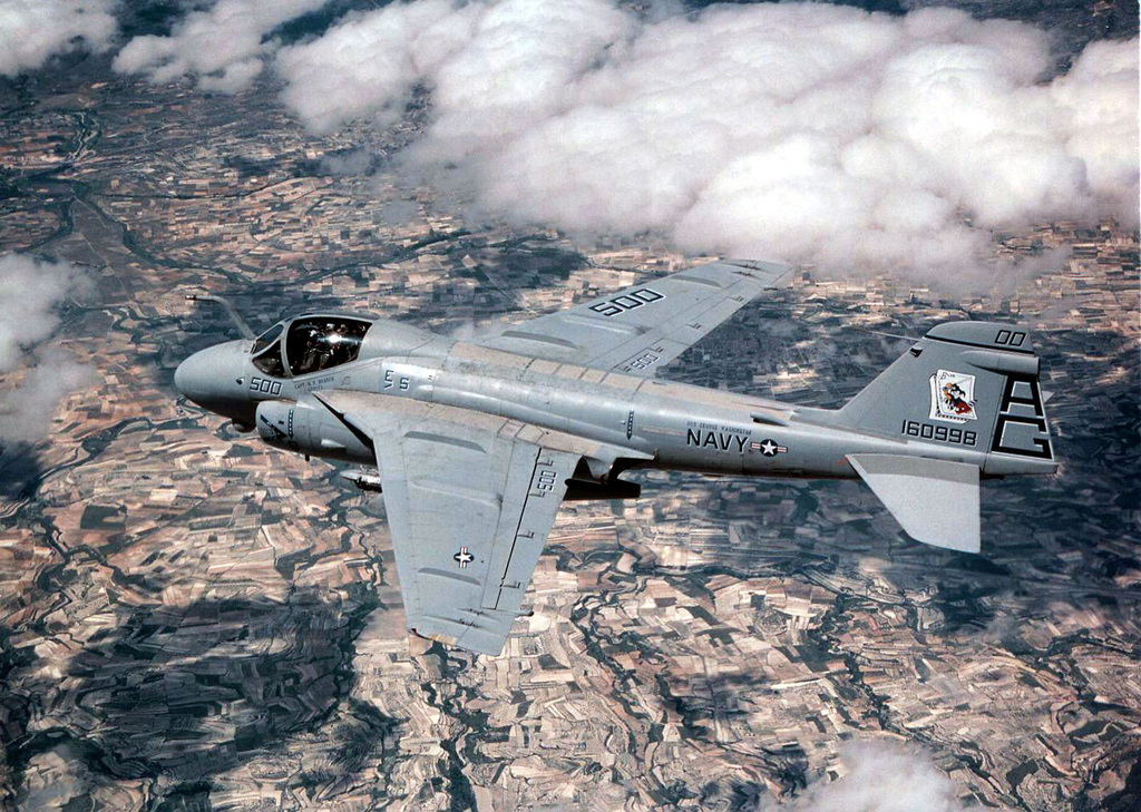 An A-6E Intruder aircraft navigates over the Spanish countryside during a low level training mission in support of Exercise MATADOR, a combined/joint US and Spanish exercise