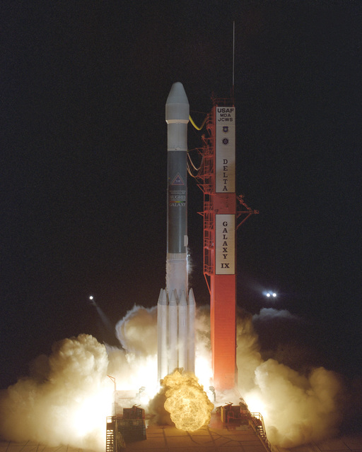 The United States Air Force and McDonnell Douglaslaunch teams successfully launched a Delta II vehicle carrying a Hughes communications satellite with 24 C-band transponders, Galaxy IX, from Cape Canaveral Air Station, CX 17B. Liftoff occurred at 2110 hours EDT