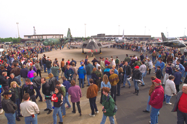A crowd surrounds an F-117 Nighthawk from the 9th Fighter Squadron, Holloman Air Force Base, New Mexico during Air Fete '96, the largest military sponsored air show in the world. Air Fete is held annually at Royal Air Force Mildenhall, United Kingdom and is attended by an estimated 300,000 people