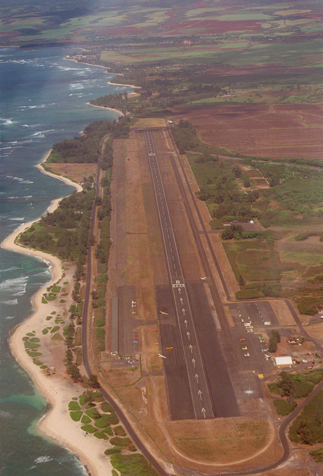 Dillingham Air Field on the northwest corner of the island. This former Air Force base is now used by the Air Force parachute team and flying club as a training site. The 9,000 runway is also available to all the services as an emergency subsidiary landing site